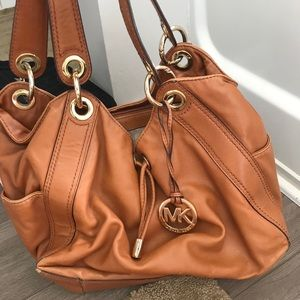 MK tan leather handbag